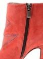 Divarese Platform Topuklu Deri Bot Kırmızı
